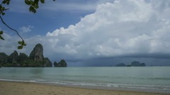 Timelaps of Rain Clouds Moving Towards the Beach, Cliff Rocks, Railay Krabi Stock Footage