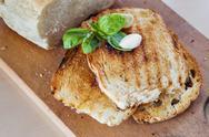 Toasts basil bread garlic Stock Photos