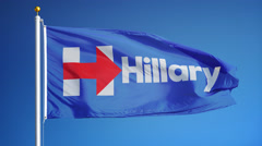 "Vote for Hillary Clinton flag, ""I'm with Hillary"" Stock Footage"