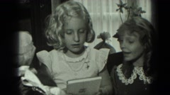 1951: children are seen having fun in garden area GERMANY Stock Footage