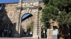 The arch at entrance of Olimpico Theatre made by Andrea Palladio Stock Footage