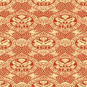 Vector seamless floral antique pattern with interlacing ribbons Stock Illustration