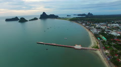 Aerial view of prachuapkhirikhan province southern of thailand Stock Footage