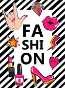 Template for fashion with stylish patch badges. Stock Illustration