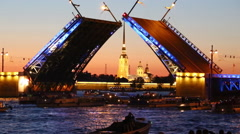 The divorce of the Palace bridge in St. Petersburg Stock Footage