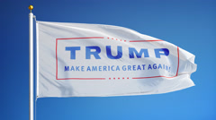 """Vote for Donald John Trump, flag """"Make America Great Again"""" Stock Footage"""