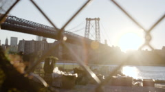Williamsburg Bridge - establishing shot - Wide Angle - NYC Stock Footage
