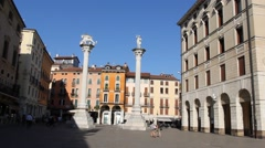 "The historical columns in a quiet and sunny ""Piazza dei Signori"" Stock Footage"