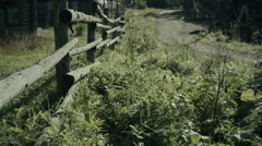 Rural landscape with log houses Stock Footage