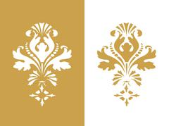 Vector abstract gold flower element design isolated Stock Illustration