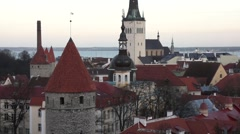 Old city panorama of Tallinn, Estonia Stock Footage