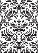Hand drawn seamless stylized foliage striped damask background Stock Illustration