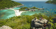 Timelaps Koh Nang Yuan View Point to the Beach, Sea and tree Islands Stock Footage