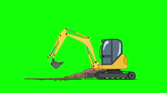 Industrial Excavator Digging Hole Isolated on Green Screen Stock Footage