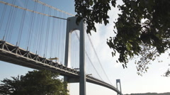 Wide angle - Verrazano Bridge - sunset - Brooklyn Stock Footage