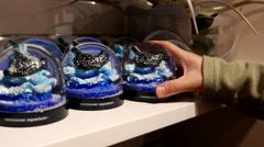 People buying snow globe with stingray snowflake inside Vancouver aquarium Stock Footage