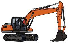 Gray and orange excavator Stock Illustration