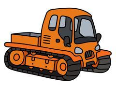 Orange tracked vehicle Stock Illustration
