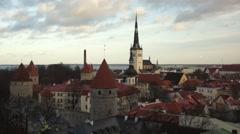 Old city panorama of Tallinn, Estonia Stock Footage