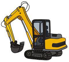 Yellow small excavator Stock Illustration