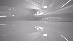 Abstract white interior. Night view. Stock Footage