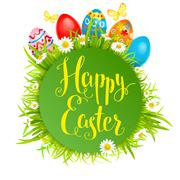 Happy easter card with eggs Stock Illustration