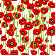 Red poppies pattern Stock Illustration