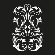 Vector vertical curled floral element on black background for design Stock Illustration