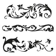Vector illustration set of black curled flourishes decorative floral elements Stock Illustration