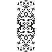 Vector vertical border black curled floral element on white Stock Illustration