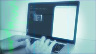 Cyberspace Computer Coding, Hands On Laptop Stock Footage