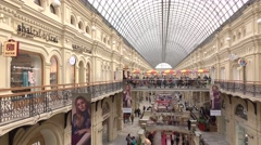 RUSSIA, MOSCOW - SEPTEMBER, 25, 2016. Interior of GUM - historic main department Stock Footage