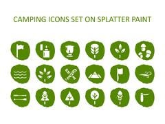 Camping icon set on green splatter paint. Flat icons on round paint stains Piirros