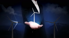 Businesswoman open palm, Wind turbine. eco energy.presentation(included alpha) Stock Footage