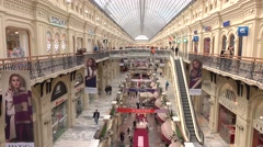 RUSSIA, MOSCOW - SEPTEMBER, 25, 2016. GUM - historic main department store on Stock Footage