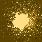 Vector gold paint splash, splatter, and blob on black background. Spray stain Piirros