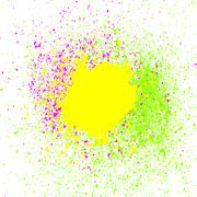 Colorful acrylic paint splatter, blob on white background. Neon spray stains Stock Illustration