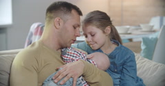 Young Father Babysitting Stock Footage