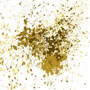 Vector gold paint splash, splatter, and blob shiny on white background. Glowing Stock Illustration