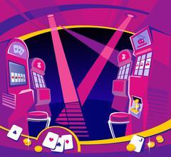 Interior casino - slot machines, chairs, light projectors. Stock Illustration