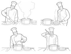 Cooking process with chef figures at the table in restaurant kitchen interior Stock Illustration
