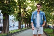 Man walking in the city Stock Photos