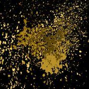 Vector gold paint splash, splatter, and blob shiny on black background. Glowing Stock Illustration