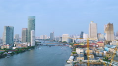 Viewof the riverside in Bangkok in the dusk Stock Footage