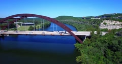 Aerial Footage – North to South Panning Shot of Bridge Stock Footage
