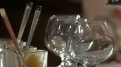 Cocktail glasses in a cafe. Stock Footage