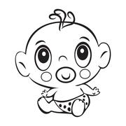 Funny baby boy. Cute baby boy sitting in a diaper isolated Stock Illustration