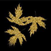 Golden glitter textured fall leaf. Autumn gold design Piirros