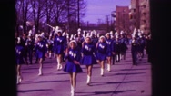 1974: group of girls performing great act in spectacle on the street LYNBROOK Stock Footage