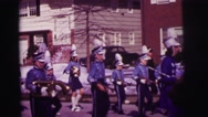 1974: marching band takes part in parade LYNBROOK, NEW YORK Stock Footage